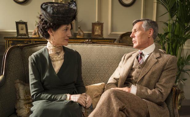 Harriet Walter as Lady Shackleton & Douglas Reith as Lord Merton in Downton Abbey series 5 premiere