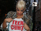Rita Ora sports NSFW T-shirt and striking hairstyle at LFW 2014