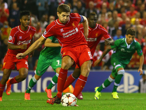 Steven Gerrard of Liverpool scores their second goal from the penalty spot during the UEFA Champions League Group B match between Liverpool FC and PFC Ludogorets Razgrad at Anfield