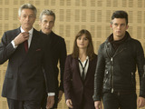 Trevor Sellers as Mr Porrima, Peter Capaldi as The Doctor, Jenna Coleman as Clara and Jonathan Bailey as Psi in Doctor Who S08E05: 'Time Heist'
