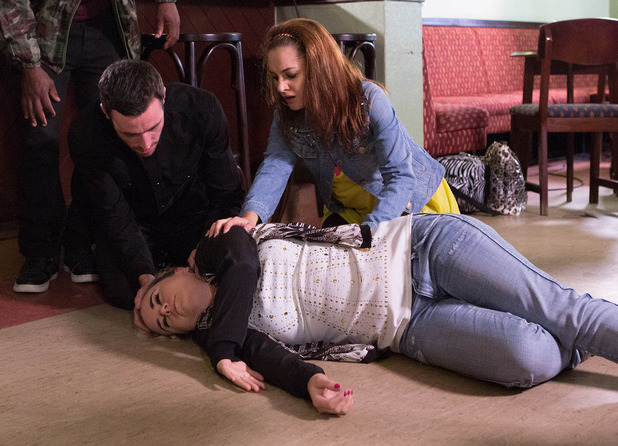 Kylie's terrified her old friend could die and accompanies her to hospital.