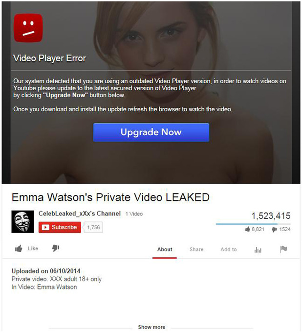The Emma Watson Trojan virus being shared on Facebook