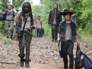 Michael Cudlitz as Abraham, Danai Gurira as Michonne, Josh McDermitt as Dr. Eugene Porter and Chandler Riggs as Carl Grimes in The Walking Dead S05E02: 'Strangers'