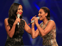 Sarah-Jane Crawford and Mel B onstage at the at the MOBO Awards at SSE Arena