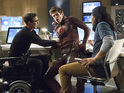 Tom Cavanagh as Dr. Harrison Wells, Grant Gustin as Barry Allen, and Carlos Valdes as Cisco Ramon in The Flash S01E03: 'Things You Can't Outrun'