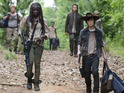 Michael Cudlitz as Abraham, Danai Gurira as Michonne, Josh McDermitt as Dr. Eugene Porter and Chandler Riggs as Carl Grimes in The Walking Dead S05E02: 'Strangers'
