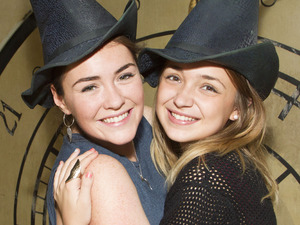 X Factor finalists Lauren Platt and Lola Saunders attend Wicked at the London Apollo Victoria Theatre