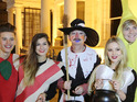 See the X Factor judge go trick or treating with his remaining act.
