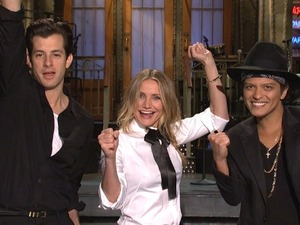 Mark Ronson, Cameron Diaz and Bruno Mars on SNL
