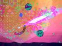 The game revolves around zapping polygon baddies with a powerful laserbeam.