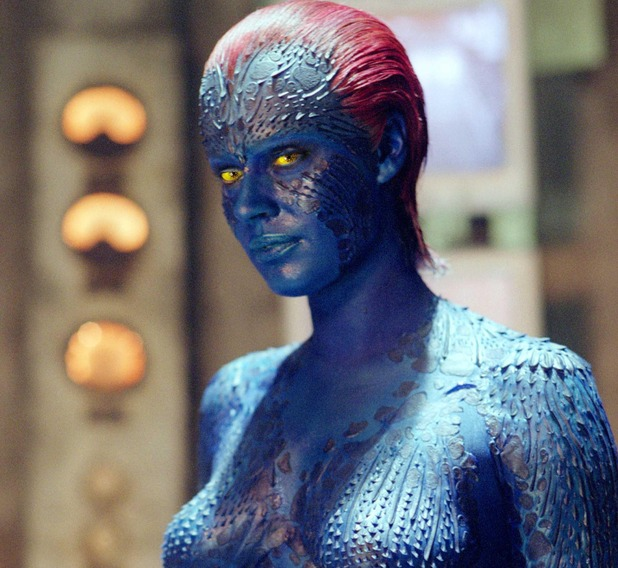 Jennifer Lawrence Mystique Makeup Process Rebecca Romijn as Mystique in