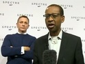 The 007 actor used his super-spy skills to sneak up on the BBC's Lizo Mzimba.