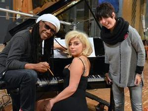 Lady Gaga in the studio working on new music with Nile Rodgers and Diane Warren