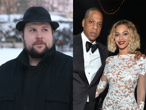 Markus ' Notch ' Persson (L) and Jay Z & Beyonce (R)