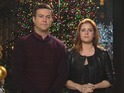 Amy Adams and Taran Killam are full of festive cheer – thanks to some fake snow.