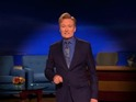 Conan O'Brien urges his TBS viewers to turn off his show and watch Letterman finale.