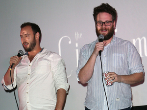 Evan Goldberg and Seth Rogen introduce the screening of Sony Pictures' The Interview at Cinefamily on December 25