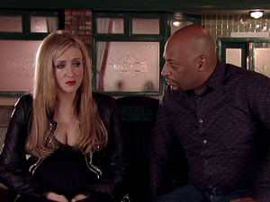 Eva is upset as she explains to Tony how Jason refused his offer.