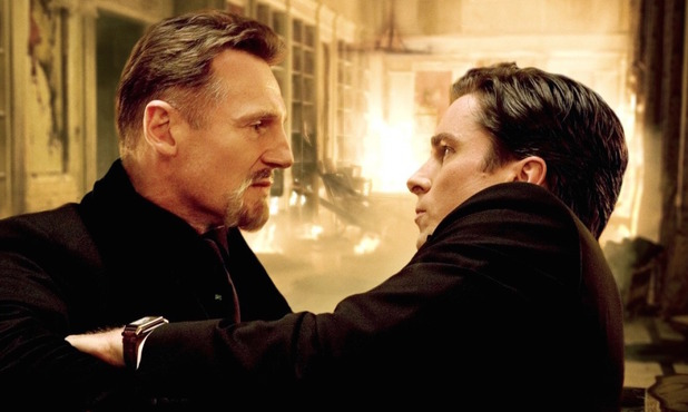 Liam Neeson, Christian Bale in Batman Begins