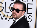 Ricky Gervais arriving at the 72nd Golden Globes