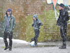Coronation Street stars brave snow for football scenes