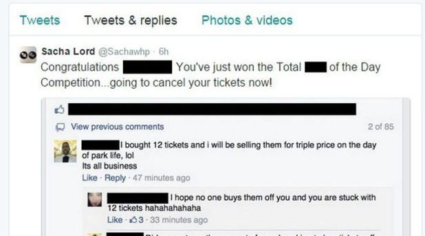 Sacha Lord-Marchionne's tweet to man planning on reselling Parklife tickets
