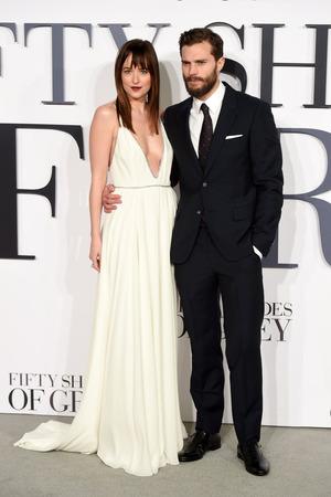 Dakota Johnson and Jamie Dornan attend the UK Premiere of Fifty Shades Of Grey
