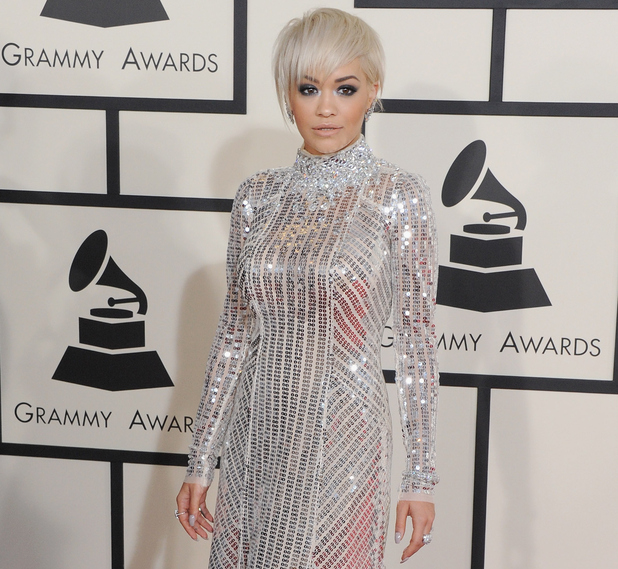 Rita Ora arriving at the 57th Annual Grammy Awards