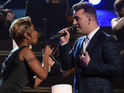 Sam Smith shares the stage with Mary J Blige at the Grammy Awards.