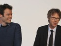 Bill Hader can barely contain himself as Dana Carvey impersonates The Beatles.