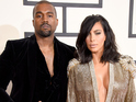 Kanye West & Kim Kardashian arriving at the 57th Annual Grammy Awards