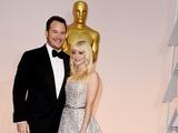 Chris Pratt and Anna Faris pose for press at Oscars
