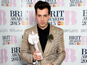 Mark Ronson, winner of the Best British Single Award, poses in the winners room during the BRIT Awards 2015