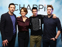 Hugh Jackman, Sigourney Weaver and Sharlto Copley pose with director Neill Blomkamp at the 'Chappie' Photocall
