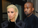 A blonde Kim Kardashian and husband Kanye West seen heading to the Balmain fashion show in Paris.