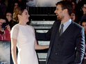 Insurgent author Veronica Roth, Shailene Woodley and Theo James walk the red carpet.