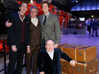 Warwick Davis, Mark Williams and twins James and Oliver Phelps open the Warner Bros Studio Tour expansion.
