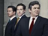 David Cameron (Mark Dexter), Nick Clegg (Bertie Carvel) and Gordon Brown (Ian Grieve) in Coalition