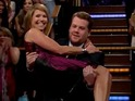 James Corden gets worried when Katie Couric appears to trip down the stairs.