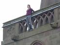 Nikki Sanderson shot dramatic scenes on location in Liverpool on Friday.