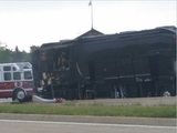 Lady Antebellum's tour bus after catching fire