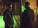 John Barrowman as Malcolm Merlyn and Stephen Amell as Oliver Queen in Arrow S03E19: 'Broken Arrow'