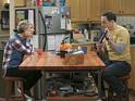 Jim Parsons as Sheldon and Kaley Cuoco-Sweeting as Penny in The Big Bang Theory S08E21: 'The Communication Deterioration'