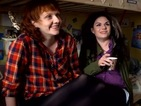 Caitlin Moran and sister Caroline have a laugh on Raised by Wolves set