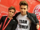 The Beckhams support Romeo at the London Marathon with 'Team Romeo' shirts