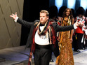 James Corden walks the runway during the Burberry fashion show in Los Angeles