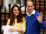 Duke of Cambridge and Catherine, Duchess Of Cambridge depart the Lindo Wing with their new baby daughter at St Mary's Hospital on May 2, 2015 in London, England