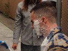 Adam Levine sugar-bombed by prankster outside Jimmy Kimmel Live studio