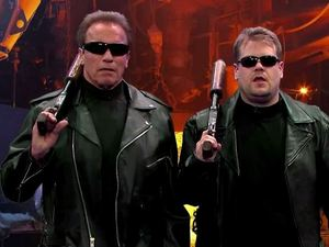 James Corden and Arnold Schwarzenegger act out snippets from Arnie's biggest films on The Late, Late SHow