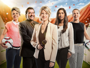 Women's World Cup 2015 broadcasting and presenting team: Sue Smith, Jonathan Pearce, Jacqui Oatley, Tina Daheley, Rachel Brown-Finnis